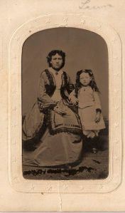 Unidentified tintype of woman and child, ca. 1865; digital image 2012, privately held by Melanie Frick, 2013.