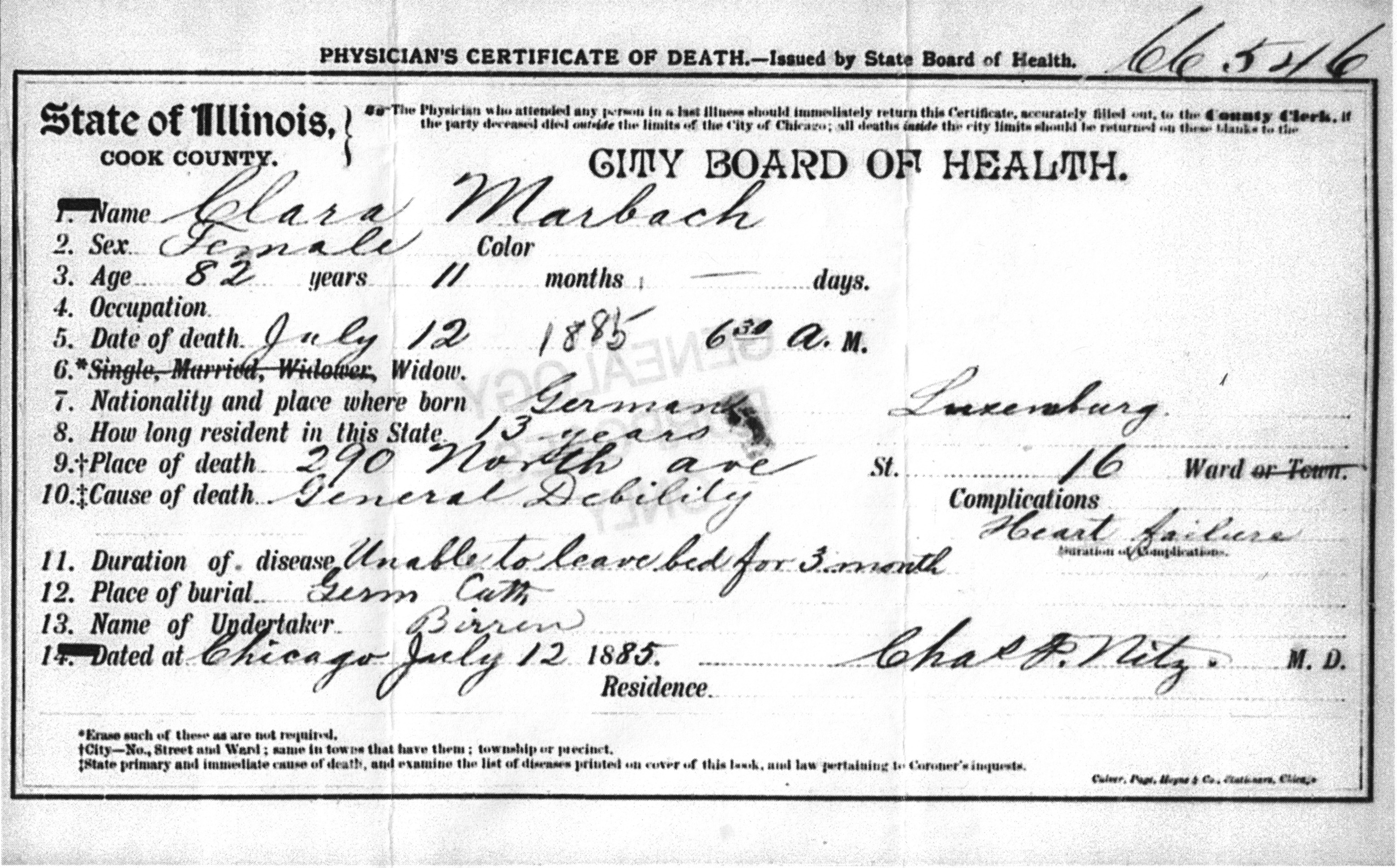 Illinois homestead genealogical research cook county illinois death certificate no 66546 clara marbach cook county clerk chicago xflitez Choice Image