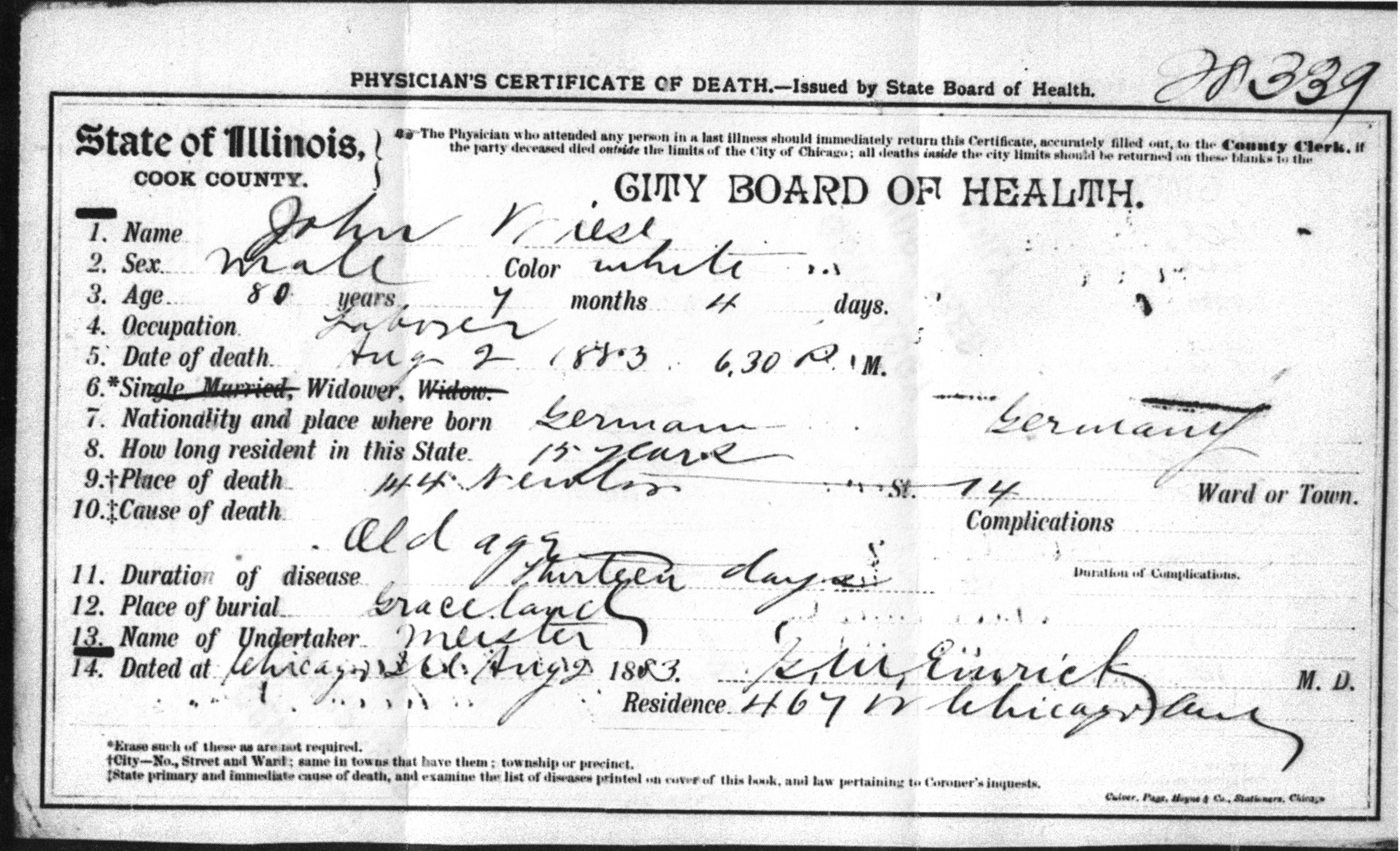 Illinois homestead genealogical research cook county illinois death certificate no 28339 john wiese cook county clerk chicago xflitez Choice Image